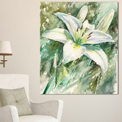 Designart Large White Lily Painting Floral CanvasArt Print