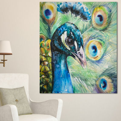 Designart Larger Peacock Watercolor Abstract Canvas Art Print - 3 Panels