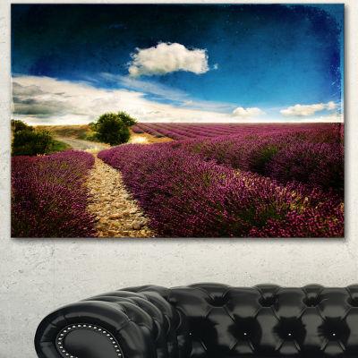 Designart Lavender Field With Dramatic Blue Sky Large Landscape Canvas Art - 3 Panels