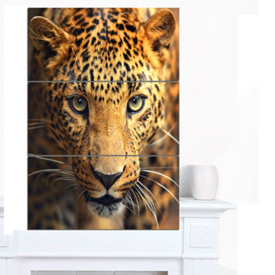 Designart Leopard Face Close Up Abstract Canvas Art Print - 3 Panels