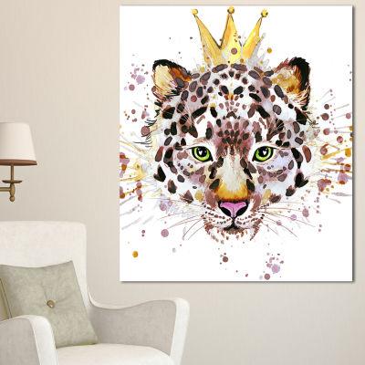 Designart Leopard Head With Golden Crown Contemporary Animal Art Canvas