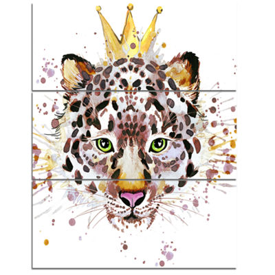 Designart Leopard Head With Golden Crown Contemporary Animal Art Canvas - 3 Panels