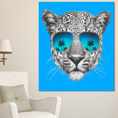 Design Art Leopard With Mirror Sunglasses Animal Canvas Art Print - 3 Panels