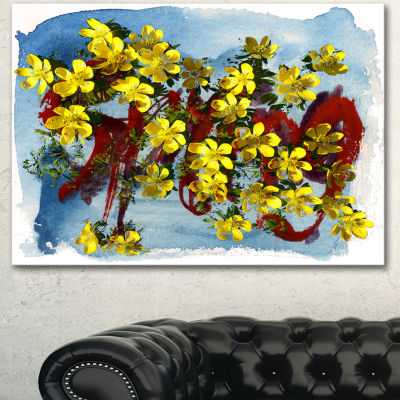 Designart Lettering And Yellow Spring Flowers Floral Art Canvas Print - 3 Panels