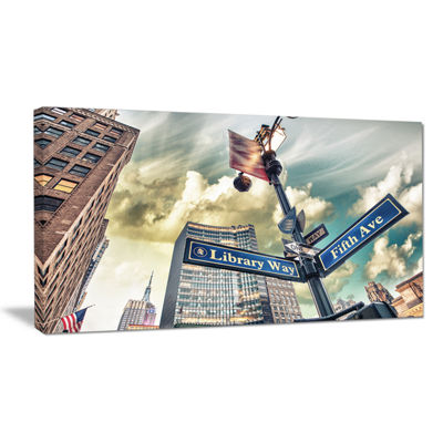Designart Library Way And 5Th Avenue Street SignsModern Cityscape Canvas Art Print