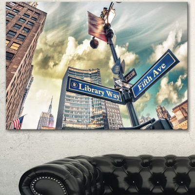 Design Art Library Way And 5Th Avenue Street SignsModern Cityscape Canvas Art Print - 3 Panels