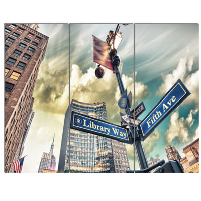 Designart Library Way And 5Th Avenue Street SignsModern Cityscape Canvas Art Print - 3 Panels