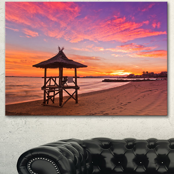 Designart Lifeguard Station In Beautiful Beach Modern Seashore Canvas Art - 3 Panels