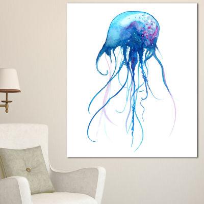 Designart Light Blue Jellyfish Watercolor AnimalCanvas Art Print - 3 Panels