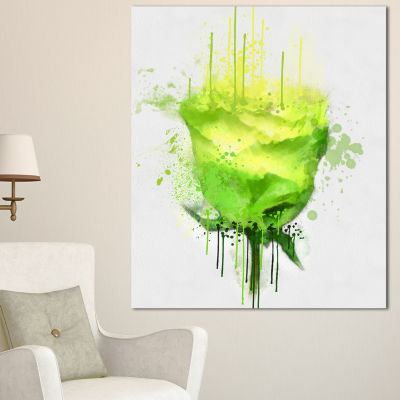 Designart Light Green Buddy Rose On White Floral Canvas Art Print