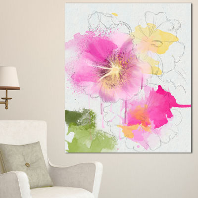 Designart Light Pink Flowers Watercolor Floral Canvas Art Print - 3 Panels
