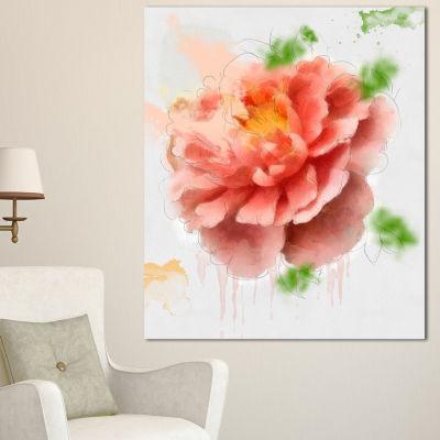 Designart Light Red Rose Sketch Watercolor FloralCanvas Art Print - 3 Panels