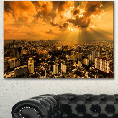 Designart Light Shining Through Dark Clouds ExtraLarge Canvas Art Print - 3 Panels