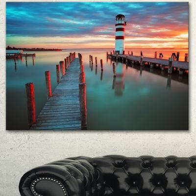Designart Lighthouse At Lake In Neusiedl Am See Large Landscape Canvas Art - 3 Panels