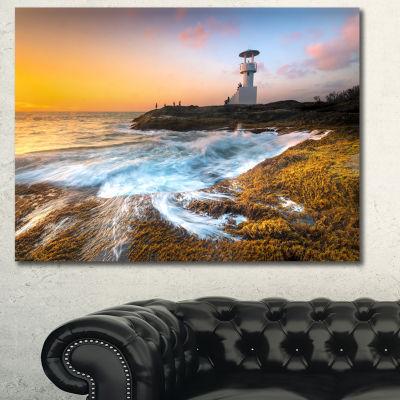 Designart Lighthouse On Beautiful Seashore Seashore Wall Art On Canvas - 3 Panels