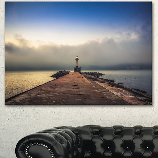 Design Art Lighthouse On Coast And Cloudy Sky Modern Canvas Art Print - 3 Panels