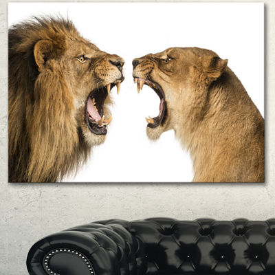 Designart Lion And Lioness Roaring Abstract CanvasArt Print