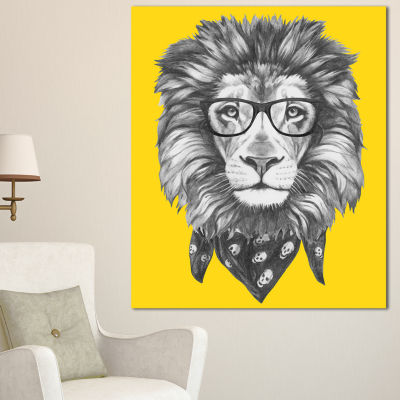 Designart Lion With Glasses And Scarf Animal Canvas Art Print