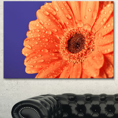 Design Art Orange Daisy On Purple Background Floral Canvas Art Print - 3 Panels
