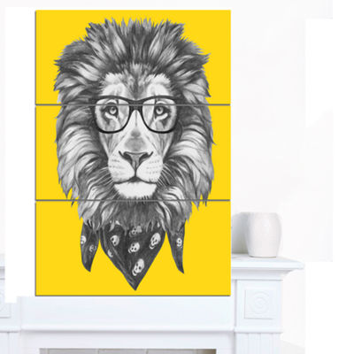Designart Lion With Glasses And Scarf Animal Canvas Art Print - 3 Panels
