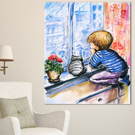 Designart Little Boy And Cat Watching City ModernPortrait Canvas Art