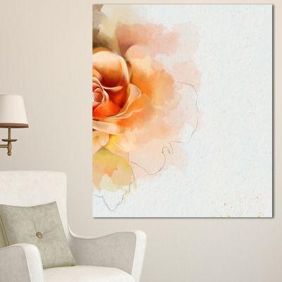 Designart Orange Rose Flower Watercolor Flower Artwork On Canvas