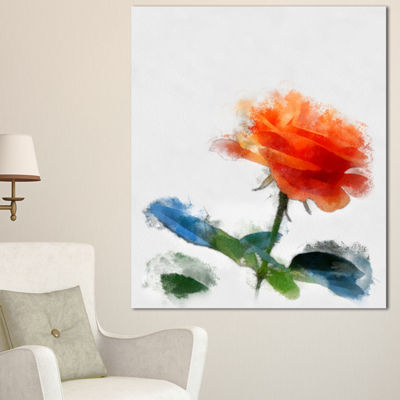 Designart Orange Rose Flower With Splashes LargeFloral Canvas Artwork