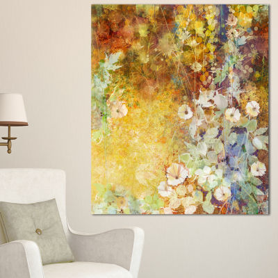 Designart Little Flowers With Soft Green Leaves Floral Canvas Art Print - 3 Panels