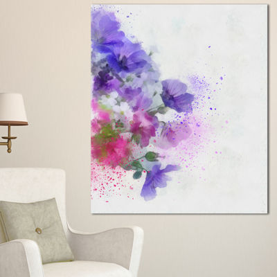 Designart Little Purple Flowers Hand Drawn FlowersCanvas Wall Artwork