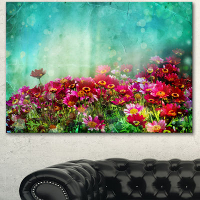 Designart Little Red And Pink Flowers On Blue Floral Canvas Art Print