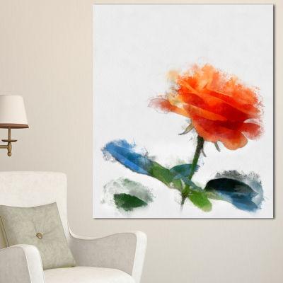 Designart Orange Rose Flower With Splashes LargeFloral Canvas Artwork - 3 Panels
