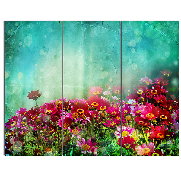Designart Little Red And Pink Flowers On Blue Floral Canvas Art Print - 3 Panels