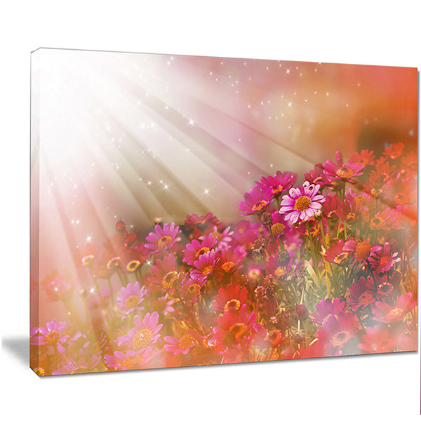 Design Art Little Red And Pink Flowers Spring Large Floral Canvas Artwork