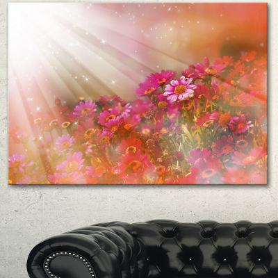 Designart Little Red And Pink Flowers Spring LargeFloral Canvas Artwork - 3 Panels