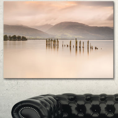 Design Art Loch Lomond Jetty And Mountains Large Landscape Canvas Art