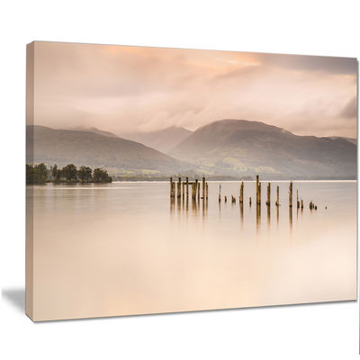 Designart Loch Lomond Jetty And Mountains Large Landscape Canvas Art