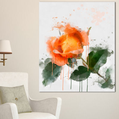 Designart Orange Rose Sketch Watercolor Floral Canvas Art Print