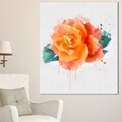 Designart Orange Rose With Green Leaves Floral Canvas Art Print