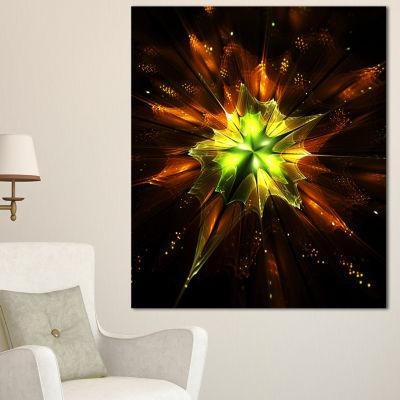 Designart Orange Yellow Green Fractal Flower Floral Canvas Art Print - 3 Panels
