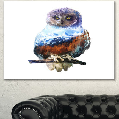 Designart Owl Double Exposure Illustration LargeAnimal Canvas Art Print