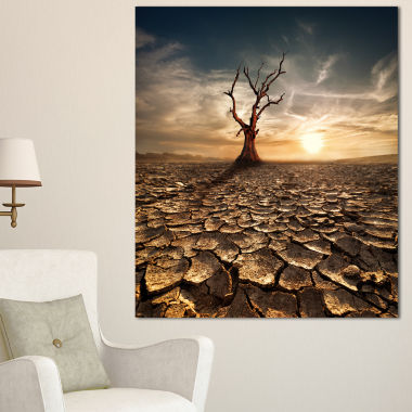 Design Art Lonely Dead Tree In Cracked Land LargeLandscape Canvas Art