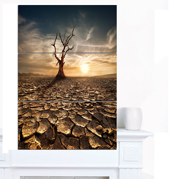 Design Art Lonely Dead Tree In Cracked Land LargeLandscape Canvas Art - 3 Panels