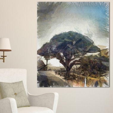 Designart Lonely Oak Tree Watercolor Sketch LargeLandscape Canvas Art