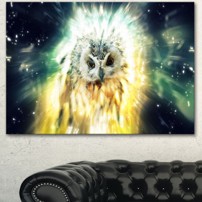 Designart Owl Over Colorful Abstract Image AnimalCanvas Wall Art - 3 Panels