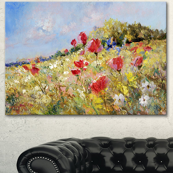Designart Painted Poppies On Summer Meadow LargeLandscape Canvas Art - 3 Panels