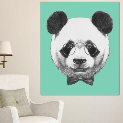 Designart Panda With Glasses And Bow Tie Animal Canvas Art Print