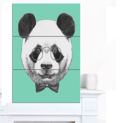 Designart Panda With Glasses And Bow Tie Animal Canvas Art Print - 3 Panels