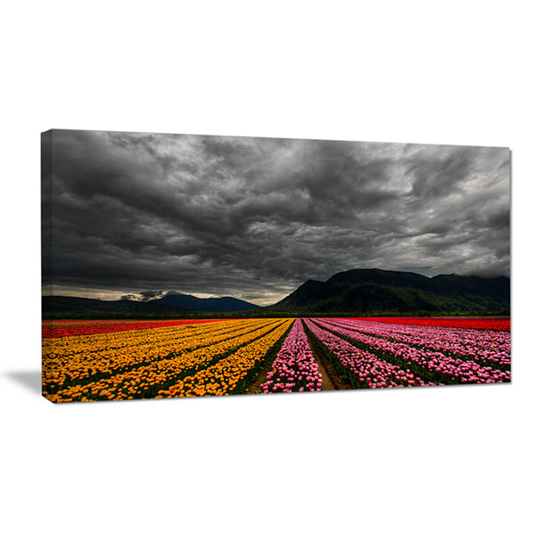 Designart Parallel Rows Of Colorful Tulips LargeLandscape Canvas Art