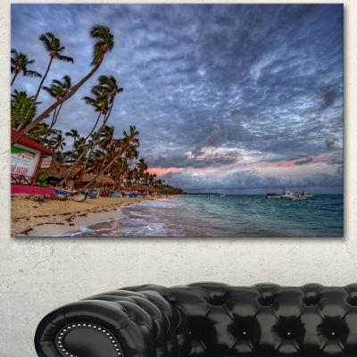 Designart Long Palm Trees Bent To Beach SeashoreCanvas Art Print - 3 Panels