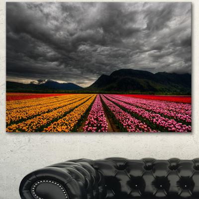 Design Art Parallel Rows Of Colorful Tulips LargeLandscape Canvas Art - 3 Panels